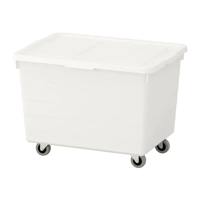 SOCKERBIT Box with casters and lid, white