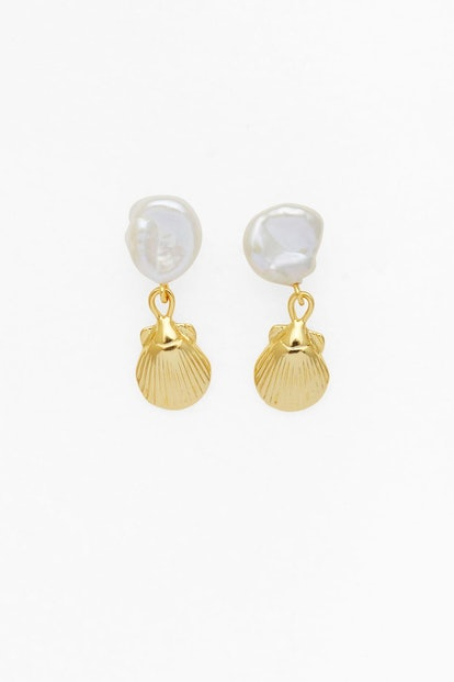 Petite Seashell and Pearl Earrings in Gold