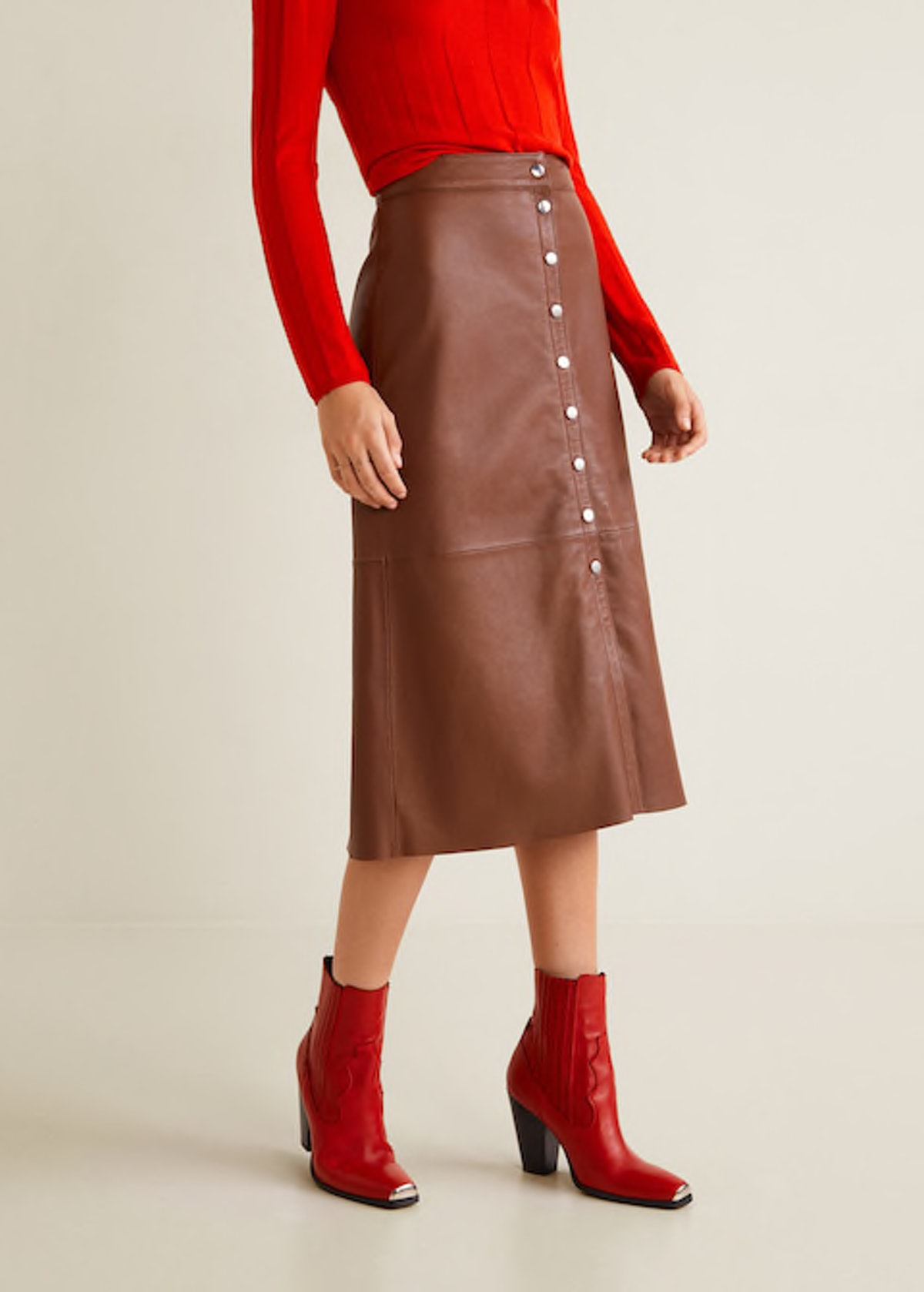 Buttons Leather Skirt
