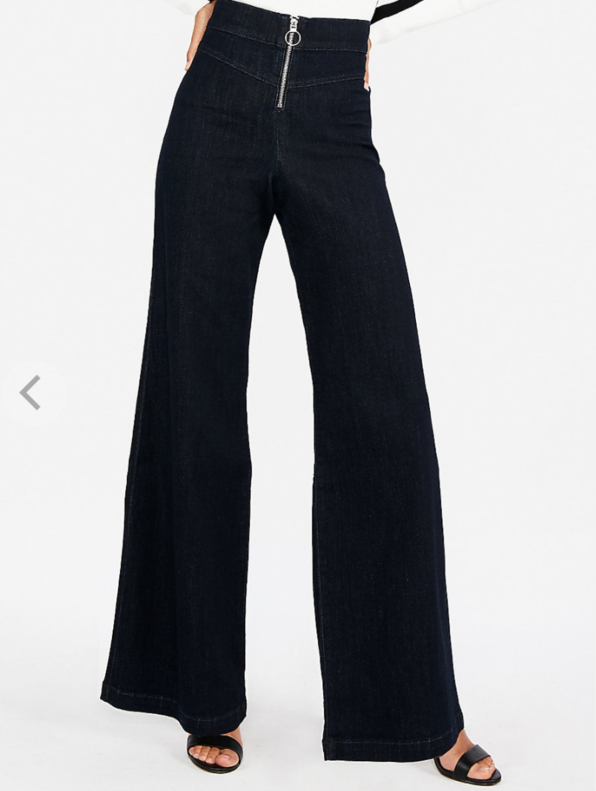 Super High Waisted Exposed Zip Stretch Wide Leg Jeans