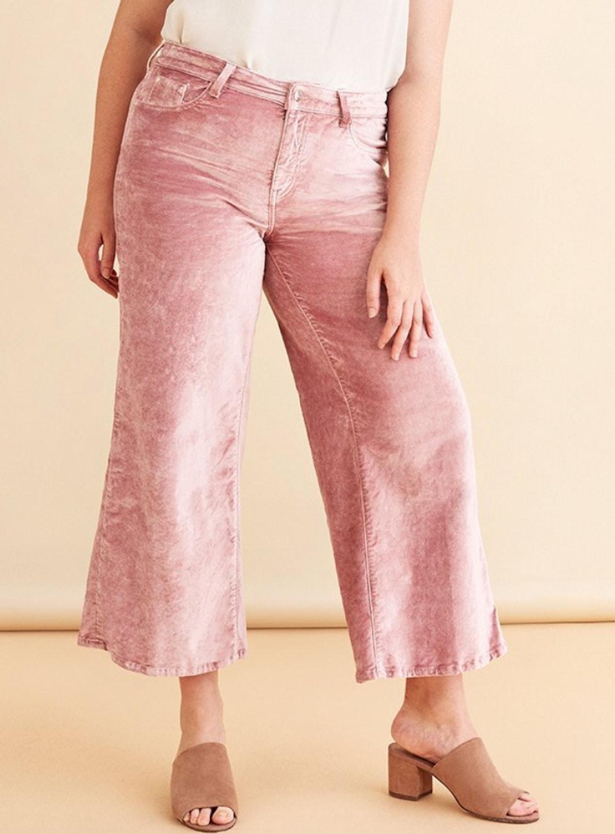 ICN Plus Wide Leg Dusty Rose Jean