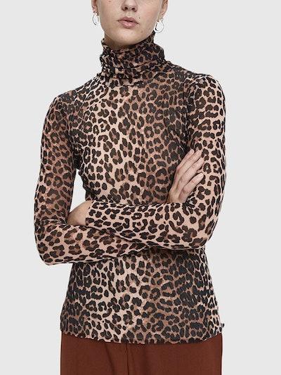 Tilden Leopard Print Mesh Turtleneck