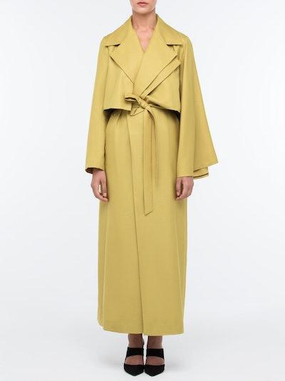 Asymmetrical Long Kimono Trench
