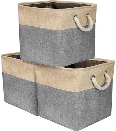 Twill Storage Baskets Set of 3