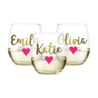 image 0  image 1  Request a custom order and have something made just for you.  This seller usually responds within 24 hours. PLASTIC Personalized Valetine's Day Wine Glasses