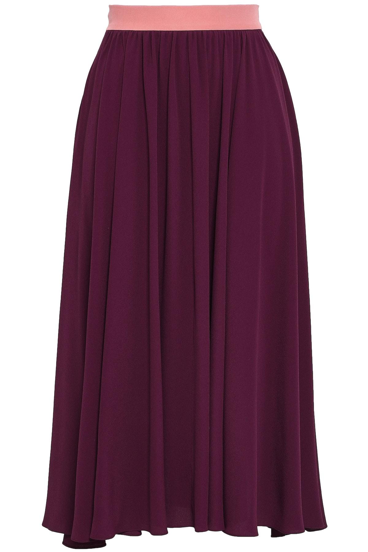 Roksanda Gathered Crepe Midi Skirt