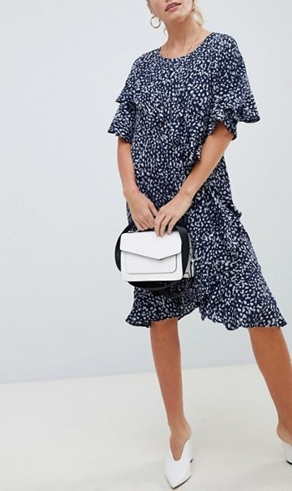 Vila Printed Ruffle Panel Dress