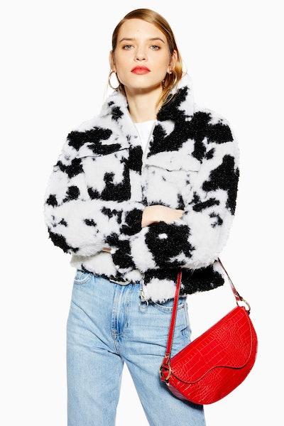 Cow Faux Shearling Crop Jacket