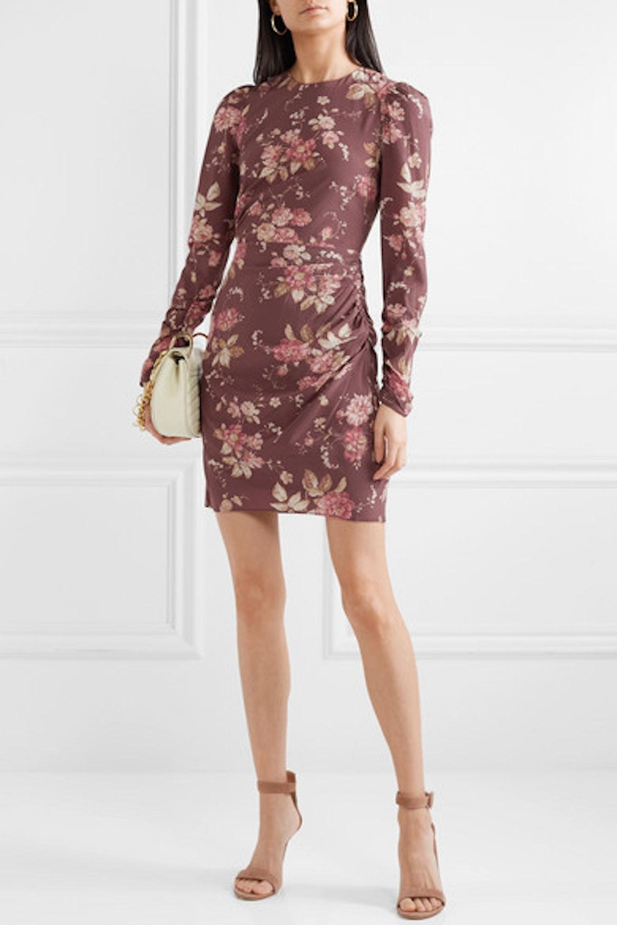 Draped Floral-Print Silk-Blend Crepe de Chine Mini Dress