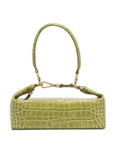 Green Olivia Crocodile Embossed Leather Box Bag