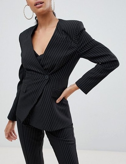 Suit Blazer With Sharp Shoulders in Cut About Pinstripe
