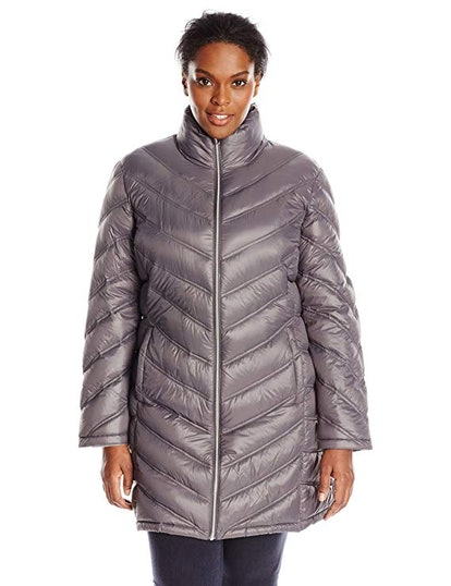 Calvin Klein Women's Plus-Size Chevron-Quilted Packable Down Coat