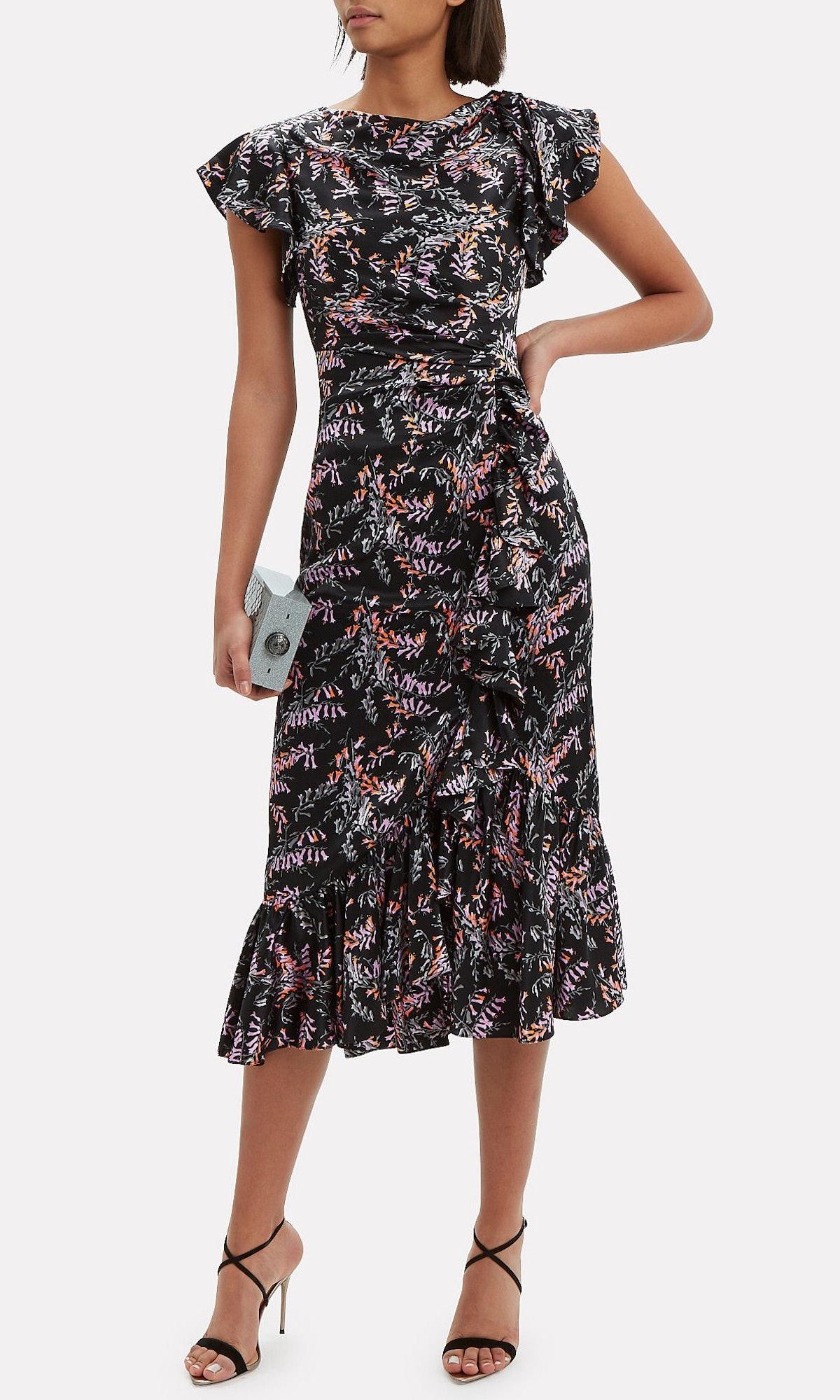 Nanon Ruffle Midi Dress