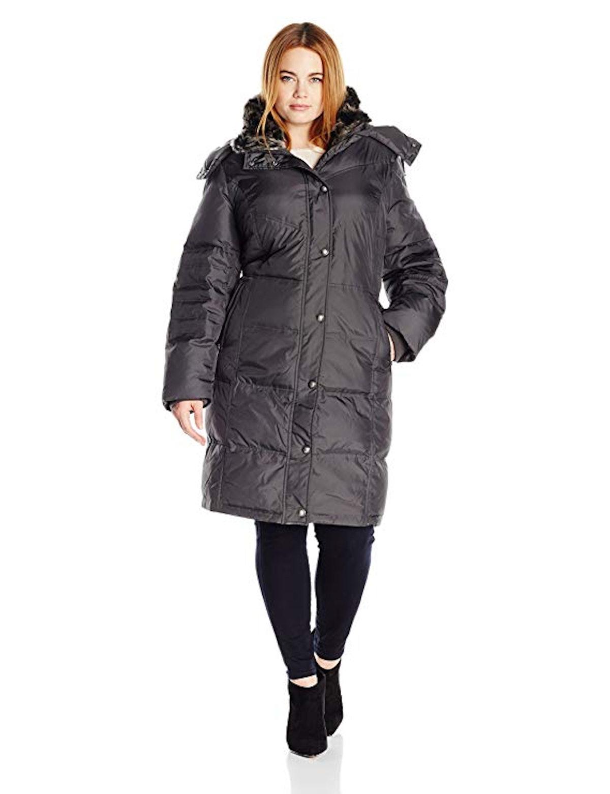 London Fog Women's Mid-Length Faux-Fur Collar Down Coat