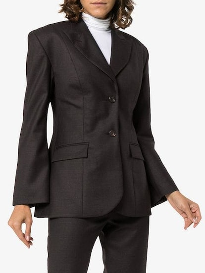 Wide Shoulder Wool Blazer