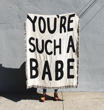 You're Such A Babe — Black and White Cotton Throw Blanket