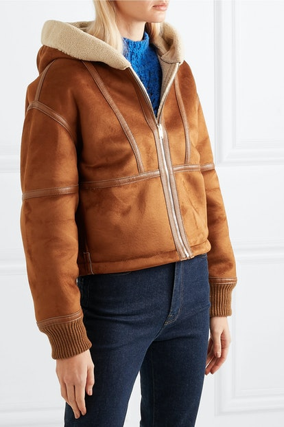 Hooded Faux Leather-Trimmed Faux Shearling And Suede Jacket
