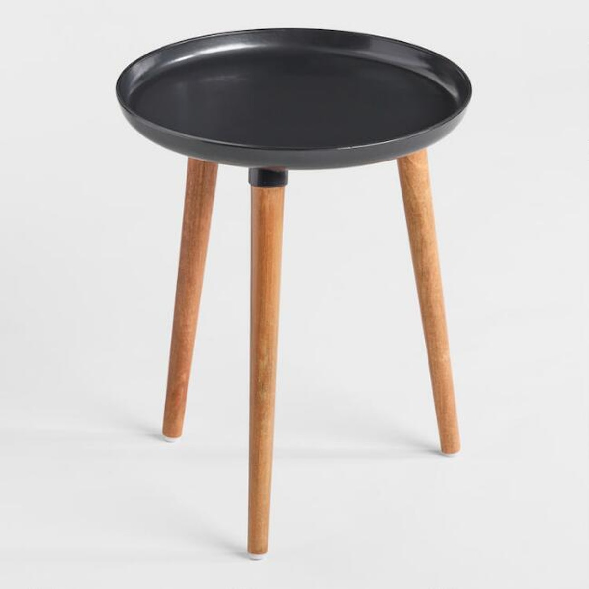 Round Black Metal And Wood Ennis Accent Table