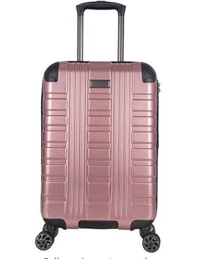 """Kenneth Cole Reaction Scott's Corner 20"""" Expandable 8-Wheel Carry-on Spinner Luggage with TSA Locks, Rose Gold"""