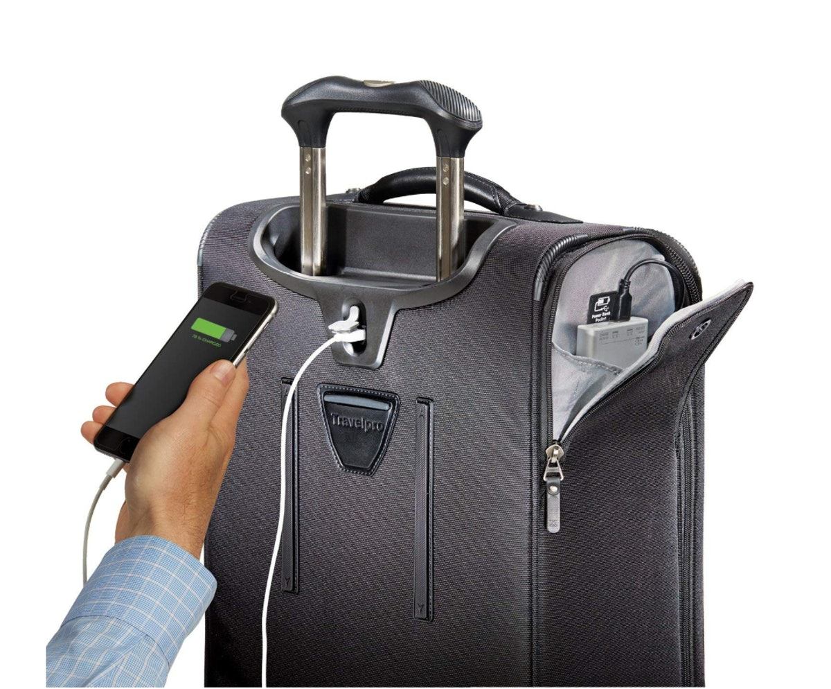 """Travelpro Luggage Crew 11 21"""" Carry-on Expandable Spinner w/Suiter and USB Port"""