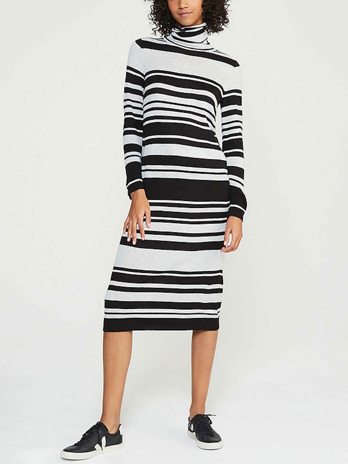 Striped Turtleneck Maxi Sweater Dress