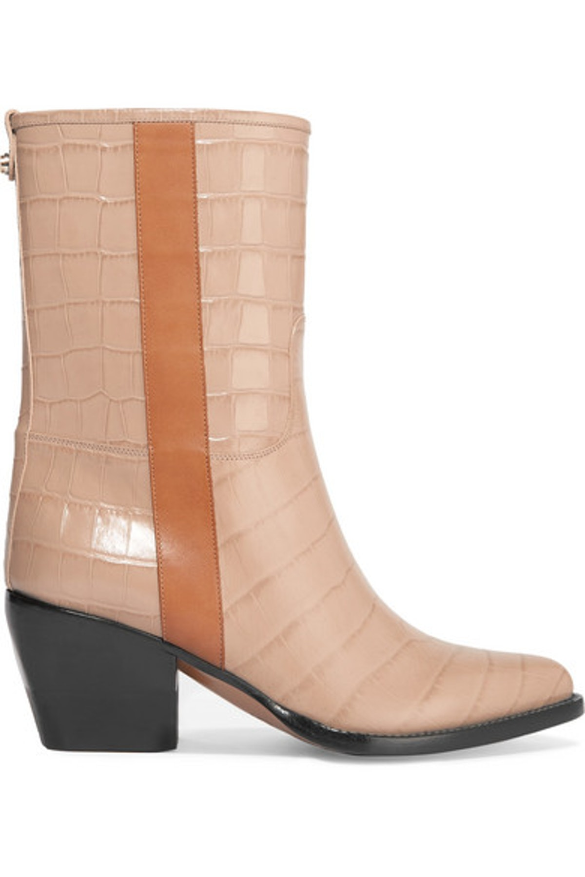 Vinny Croc-Effect Leather Ankle Boots
