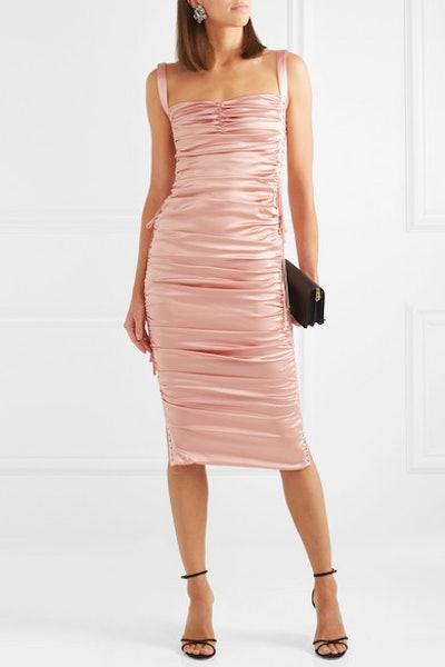 Lace-Up Ruched Stretch-Silk Satin Midi Dress