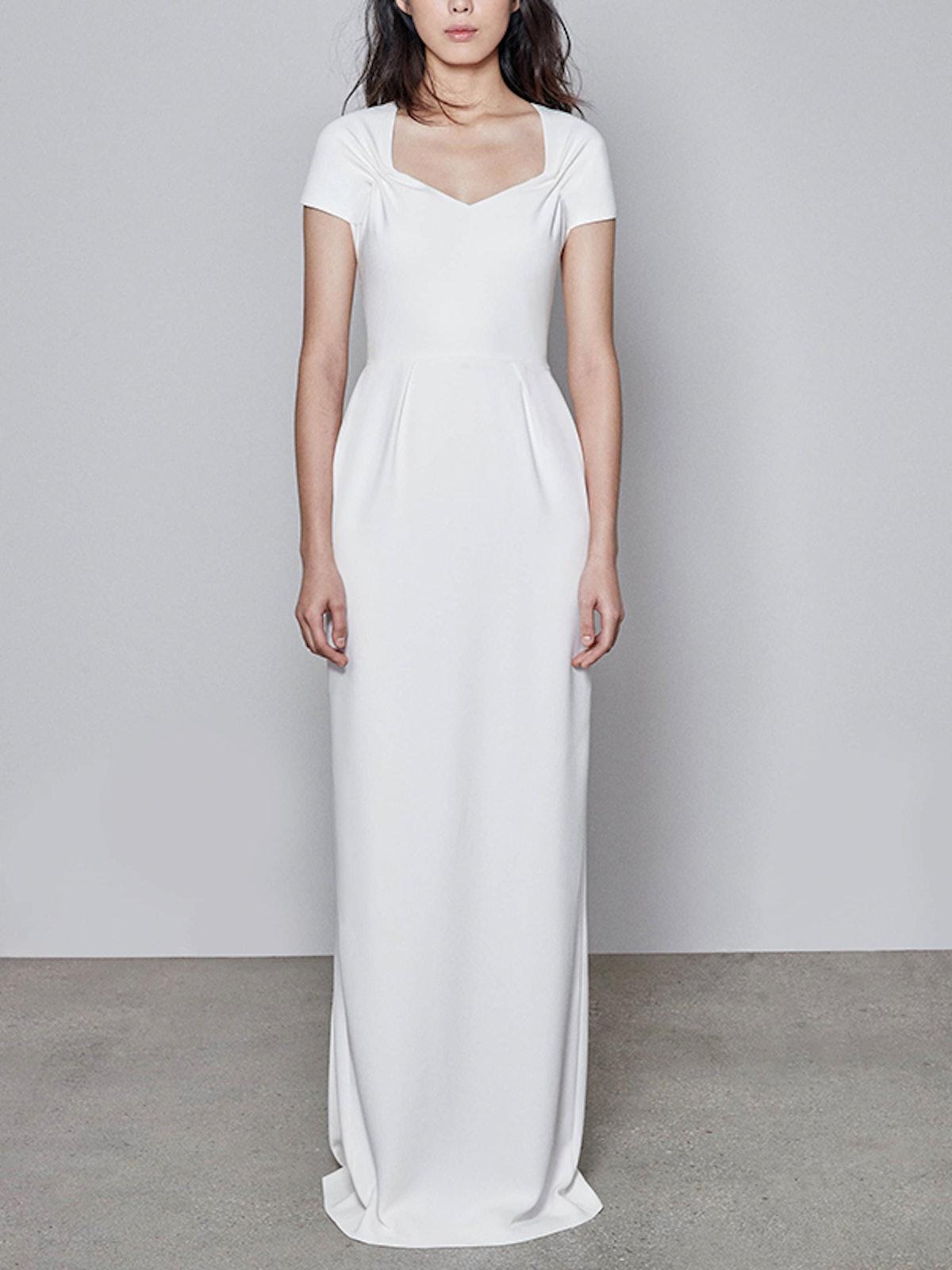 F18 Rose Cap Sleeve Wedding Dress