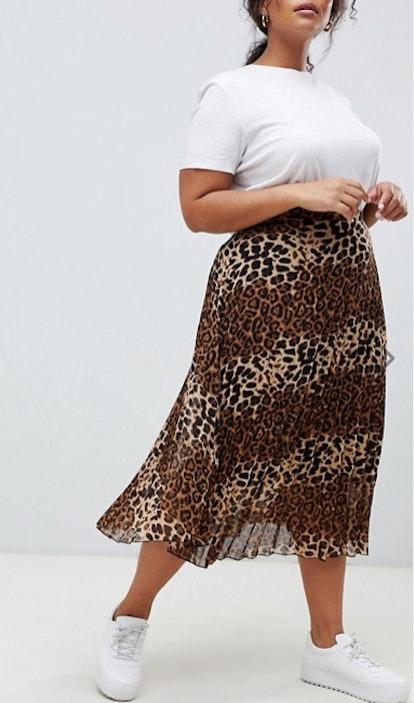 Glamorous Midi Skirt In Pleated Leopard Print