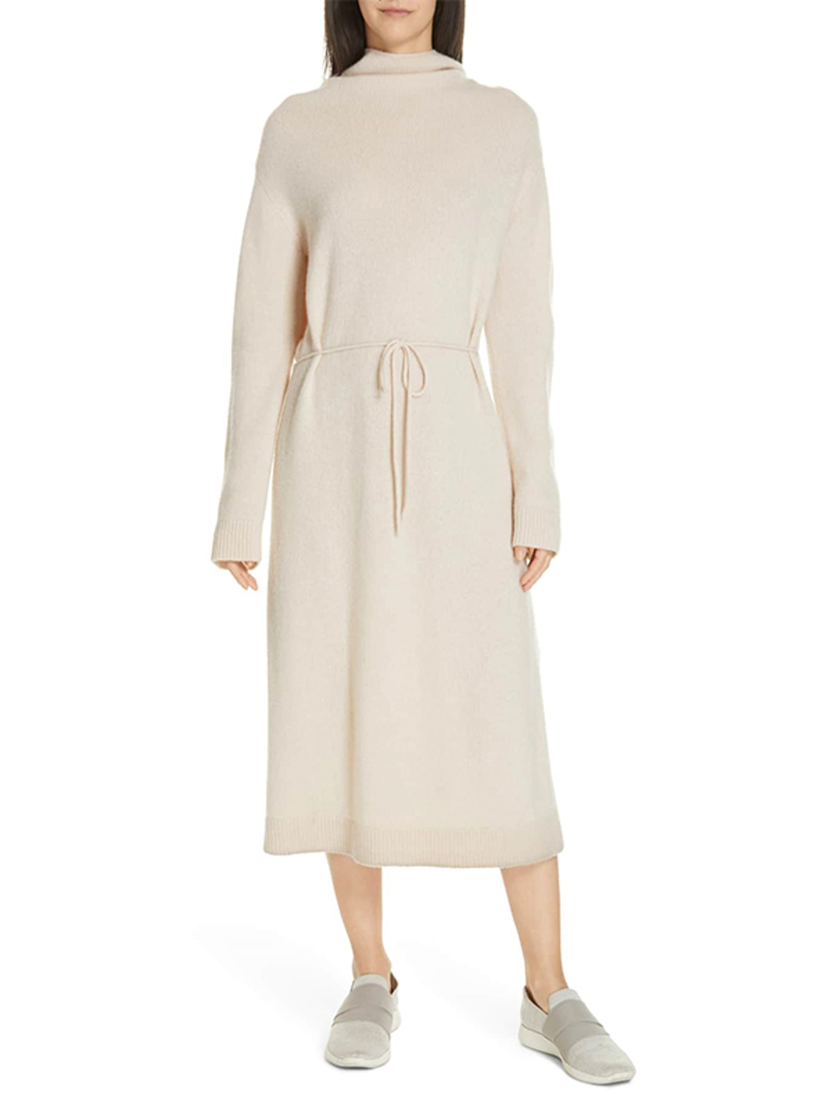 Funnel Neck Wool & Cashmere Sweater Dress