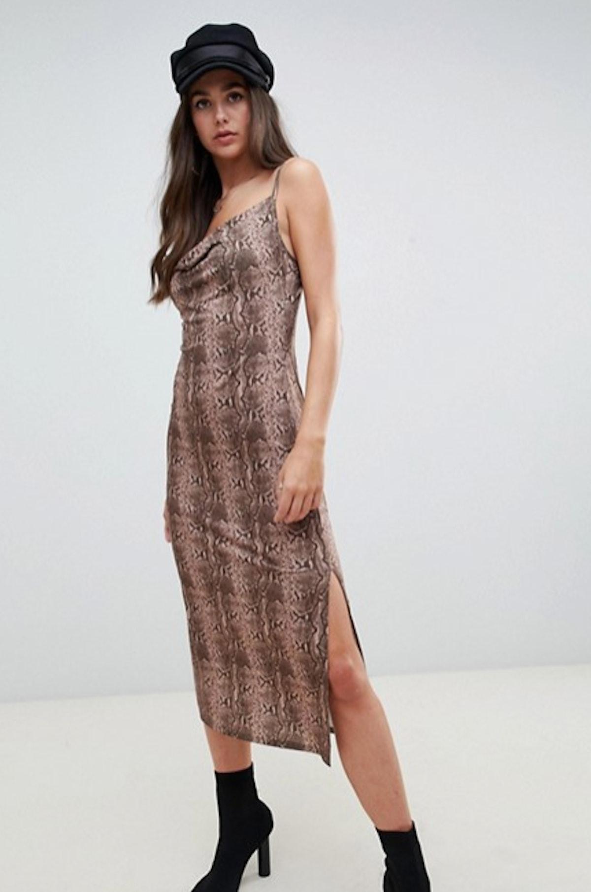 Cowl Front Midi Slip Dress In Snake Print