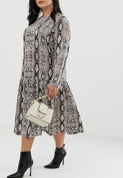 Midi Smock Dress In Snake Print