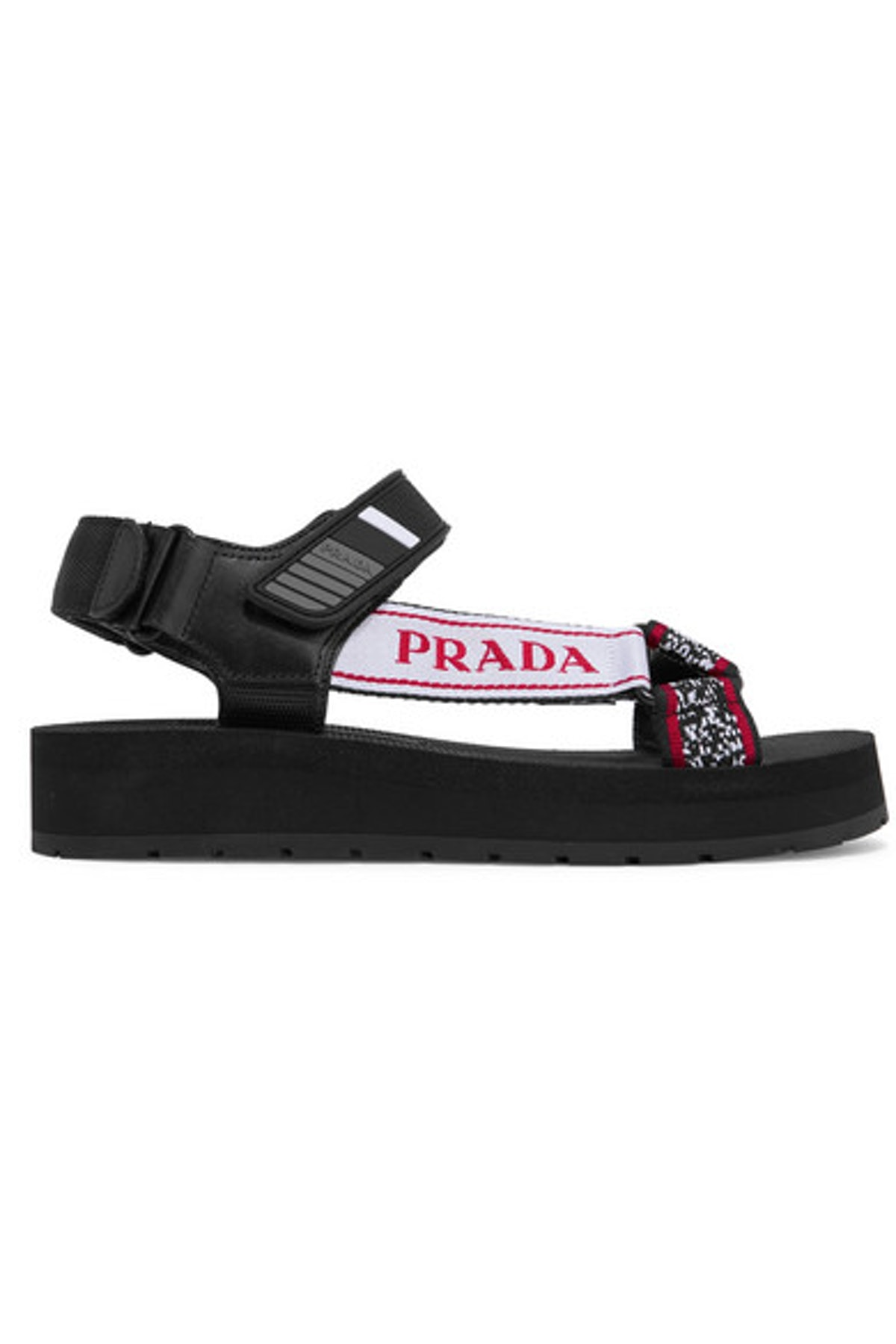Logo-Detailed Leather, Canvas, and Rubber Sandals
