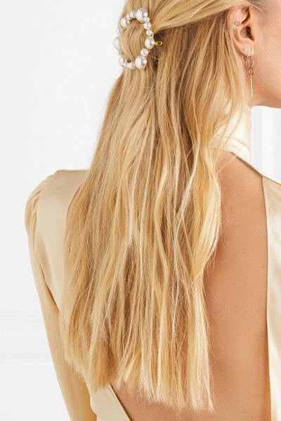 Gold-Tone Faux Pearl Hairclip