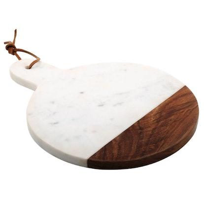 Thirstystone Round White Marble With Sheesham Paddle Cheese Board