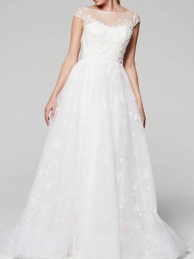 Illusion Neckline Cap Sleeve Lace Wedding Dress