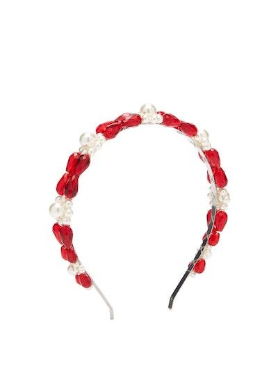 Simone Rocha Daisy Faux-Pearl and Bead-Embellished Headband