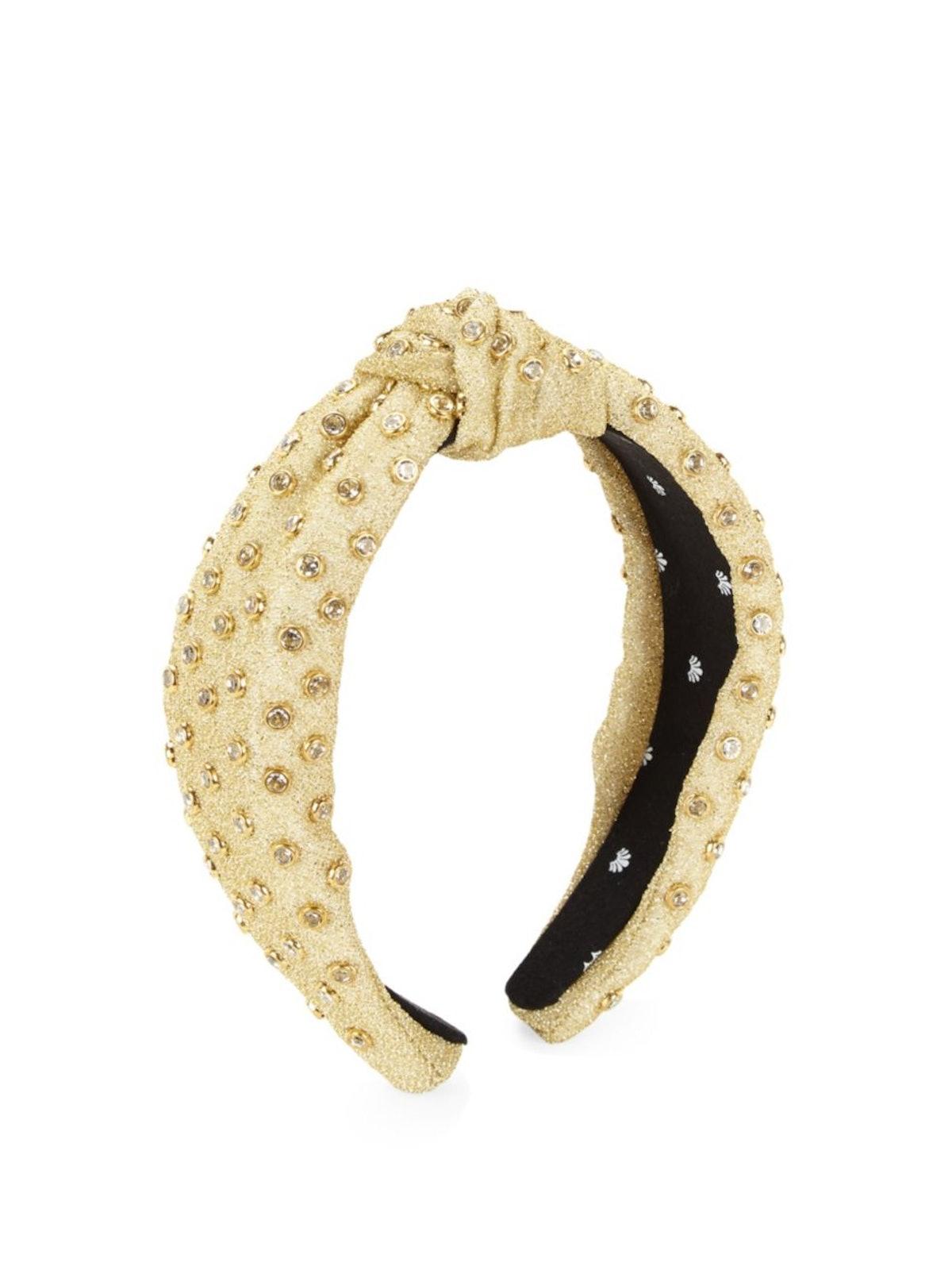 Lele Sadoughi Crystal 14K Goldplated & Velvet Mesh Headband