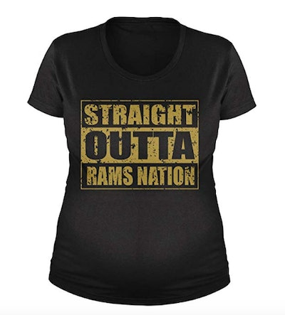 Straight Outta Rams Nation Football Maternity T-Shirt