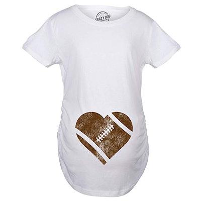 Maternity Football Heart Pregnancy T-Shirt