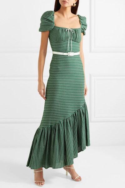Belted Asymmetric Crocheted Cotton Dress