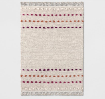 Opalhouse Tan Striped With Poms Woven Fringed Rug