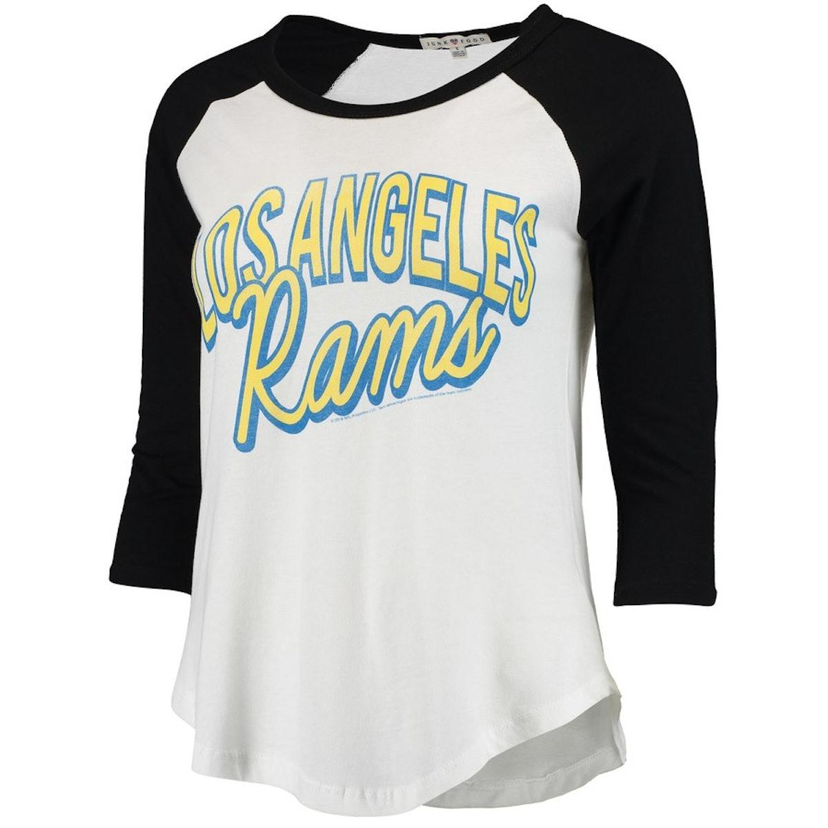 Women's White/Black Los Angeles Rams Play Action Vintage 3/4-Sleeve Raglan T-Shirt