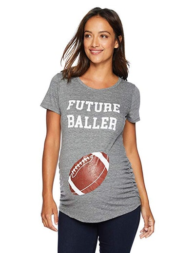 Women's Maternity Short Sleeve Side Ruched Football Graphic Tee Shirt