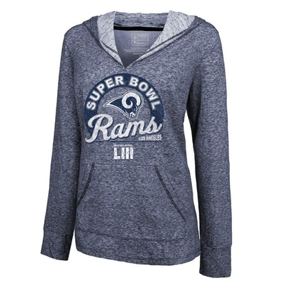 Women s NFL Pro Line by Fanatics Branded Navy Los Angeles Rams Super Bowl  LIII Bound Double Face Slub Pullover Hoodie 812694a76