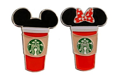 Red Holiday Mickey And Minnie Starbucks Cup Pin Pack (2 Pins)