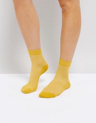Plain Ribbed Ankle Socks
