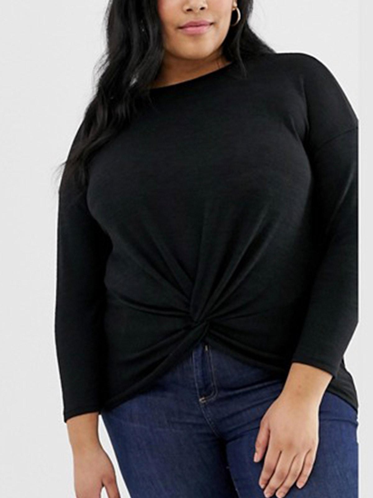 Long Sleeve Twist Front Tee In Black