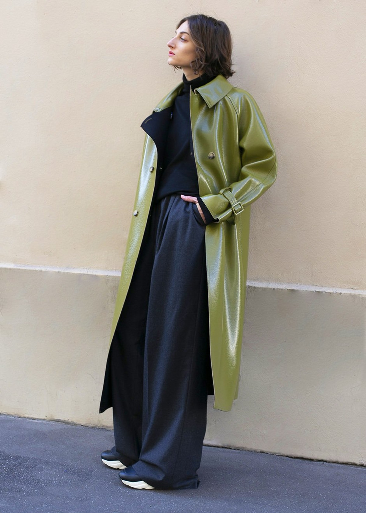 Olive Patent Trench Coat