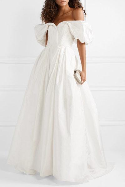 Off-The-Shoulder Silk-Faffeta Gown